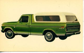 1974 Ford Pickup Truck camper Shell Green Car Dealer Advertising