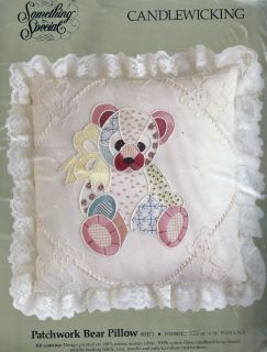 Patchwork Bear Pillow Candlewicking Embroidery Kit Something Special