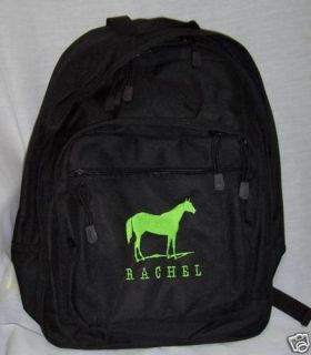 Quarter Horse Lime Green Backpack Barrel Racer Bookbag