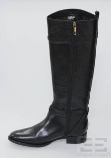 Tory Burch Black Leather Calista Knee High Riding Boots Size 11