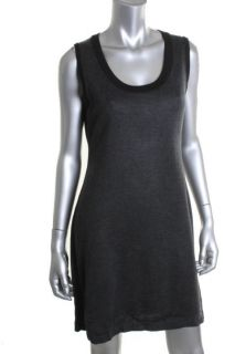 Calvin Klein Gray Scoop Neck Fitted Sweaterdress Petites PL BHFO