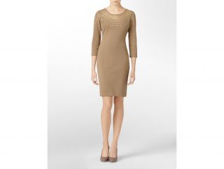 Calvin Klein Womens Petites Gold Spray Sequin Matte Jersey Dress