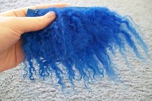Caressa OOAK Fairy or Baby Doll Tibetan Lamb Wool Hair Dark Blue Half