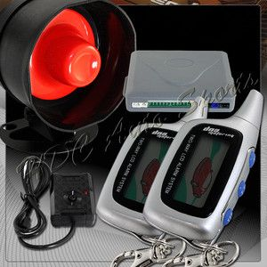 LCD 2 Way Remote Car Auto Security Alarm Siren Silver Pager Engine