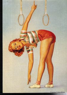 Pin Up Girl Art Balanced Beauty Postcard Sexy Gymnast Rings