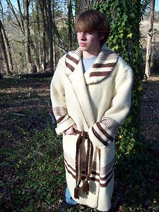 Wool Blanket Capote Coat Fur Trapper Mountain Man Muzzleloader Black