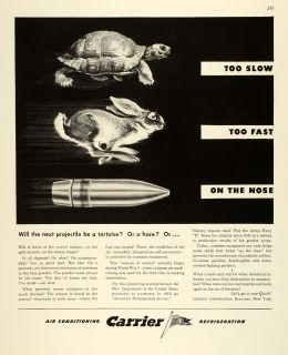 1943 Ad Carrier Syracuse Air Conditioning Refrigeration Turtle Hare