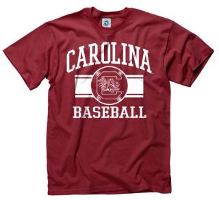 South Carolina Gamecocks Cardinal Wide Stripe Baseball T Shirt
