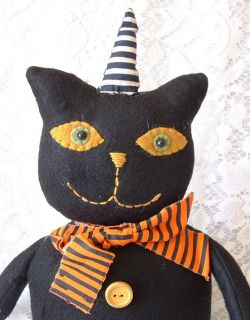 Folk Art Halloween Black Cat in Stripe Hat Felt Figure LG