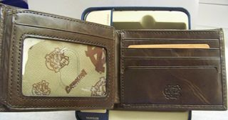 UNC North Carolina Tarheels Fossil Wallet Traveler Brown Leather