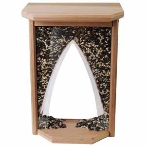 casement window bird feeder standard capacity weather resistant cedar