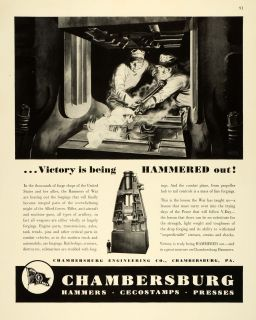 1943 Ad Chambersburg Engineering WWII War Production Artillery Welding