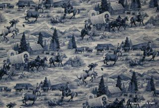 Western Cattle Drive Frontier Rodeo Horse Wagon Old West Theme Curtain