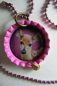 DEER NECKLACE PINK bottlecap PENDANT w 24 raspberry colored ball chain