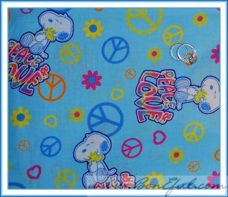 BOOAK Fabric Snoopy Dog Peace Love Peanuts Charlie Brown Cotton Heart