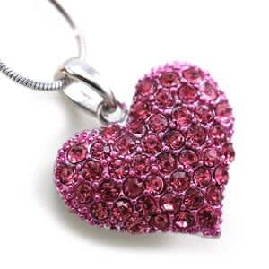 Small Love Pink Heart Valentines Day Pendant Necklace Charm Lady