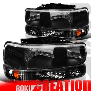 99 02 Chevy Silverado Headlights Bumper Parking Black