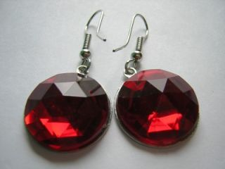 VINTAGE RED SILVER ALUMINUM CHRISTMAS TREE BUBBLE CHARM EARRINGS