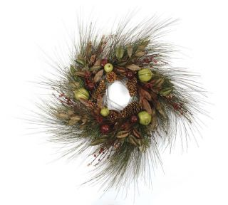 30 Pine Artificial Christmas Wreath w Fruit Pomegrana