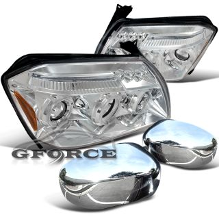 05 07 Dodge Magnum Chrome Headlights Side Mirror Covers