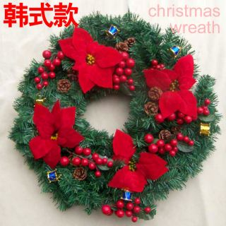 20 inch Artificial Poinsettia Holly Christmas Wreath Indoors Outdoors