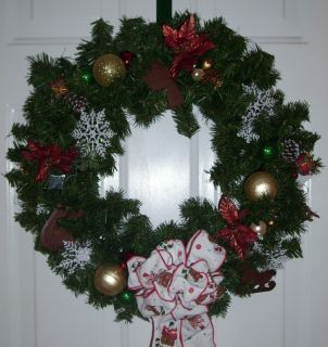 Handmade Christmas Wreath Rustic Country Theme Artificial Free USA