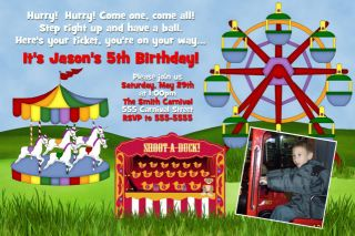 Circus Carnival Theme Park Photo Birthday Party Invitations Boy Girl