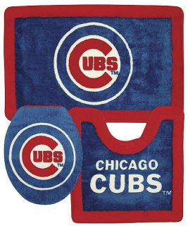 New Chicago Cubs MLB 3 PC Bathroom Bath Rug Set
