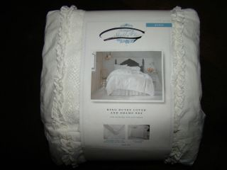 SIMPLY SHABBY CHIC MESHED LACE PRESTINE WHITE KING DUVET COVER W/ 2