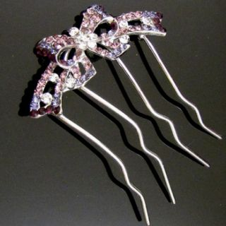 Shipping 1pc Austrian Rhinestone Crystal Bow Tie Hair Comb Fork