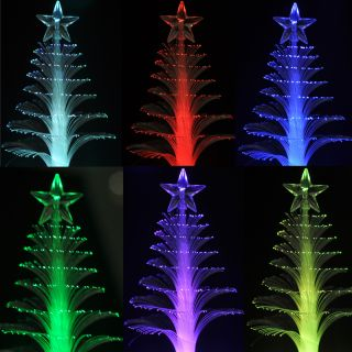 Powered 7Color LED Tiny Christmas Tree Decoration Display Light Lamp