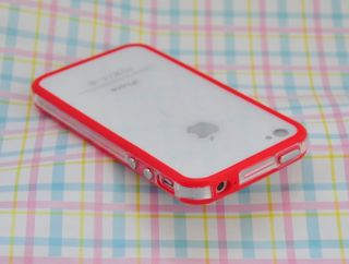 Clear Bumper Frame TPU Silicone Case for iPhone 4S CDMA 4 4G w Side