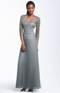 JS Collections Metallic Lace Gown & Bolero