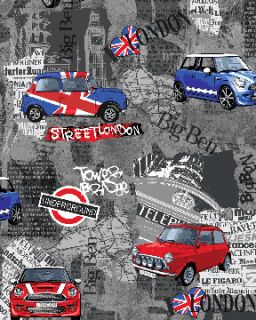FQ Benartex Fabric London Bridge Mini Cooper Cars Union Jack Patchwork