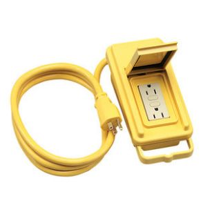 Coleman Cable 02822 Yellow 120 Volt GFCI Duplex Box with 6 12 3 Cord