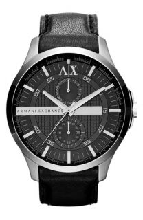 AX Armani Exchange Round Leather Strap Watch