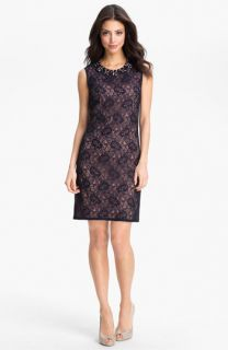 Adrianna Papell Embellished Lace Shift Dress