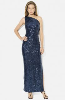 Lauren Ralph Lauren One Shoulder Sequin Column Gown