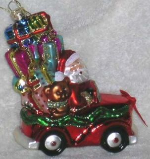 Santa Claus Ornament Blown Glass Convertible Car Gifts