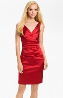 Suzi Chin for Maggy Boutique Double V Neck Ruched Sheath Dress
