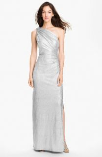Betsy & Adam One Shoulder Shirred Metallic Gown