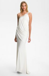 Sz 14 JS Collections Beaded One Shoulder Jersey Gown Ivory