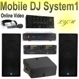 DJ Club Sound System Speakers Amplifier Mixer Dual CD Player 4 A