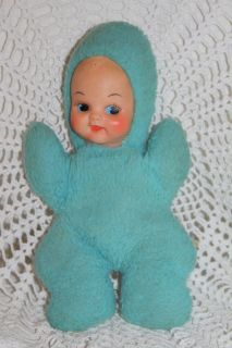 Vintage Commonwealth Toy Co Baby Doll Blue Plush w Rubber Face 1960s
