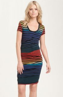 Nicole Miller Ombré Stripe Jersey Sheath Dress