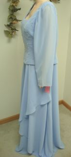 K66 New Copen Blue Crepe Draped Mob Formal Gown 14