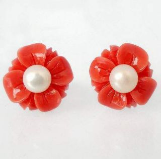 MAGICAL RED CORAL FLOWER PEARL 925 STERLING SILVER STUD EARRINGS G7415