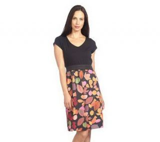 Isaac Mizrahi Live Short Sleeve Leaf Print Combo Dress   A210329