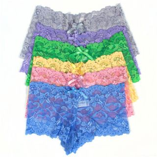LOT of 6 Womens Floral Lace PANTIES HIPSTER SHEER boyshorts Underwear