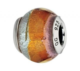 Prerogatives Sterling Pink & Orange Italian Murano Glass Bead